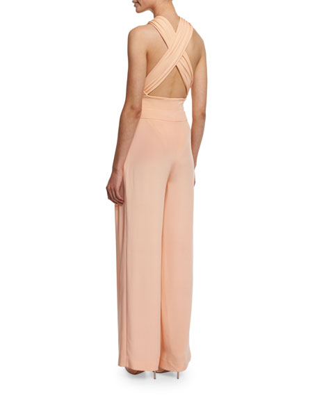 Crisscross Halter Body Suit, Peach