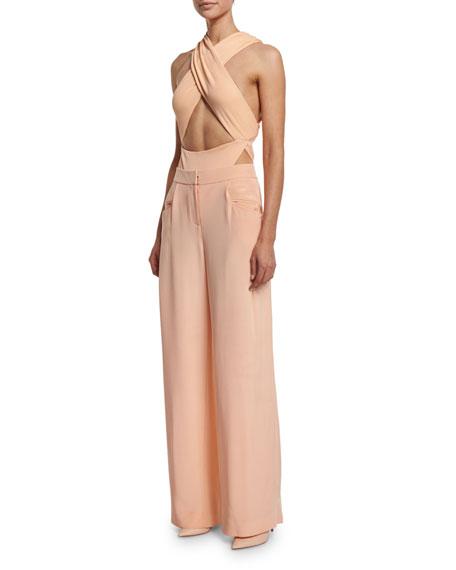 Crisscross Halter Body Suit, Peach