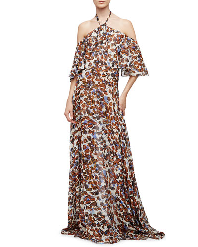 Halter-Neck Floral-Print Gown, Natural/Multi Colors