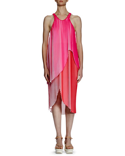 Primrose Sleeveless Racerback Plisse Dress, Pink/Red