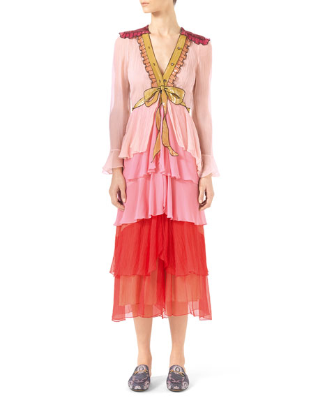 d330c752a Gucci Embroidered Degrade Chiffon Dress, Nude/Soft Rose