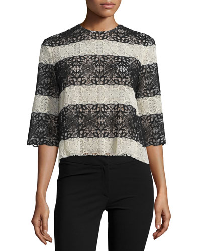 3/4-Sleeve Striped Guipure Lace Top, Black/Natural
