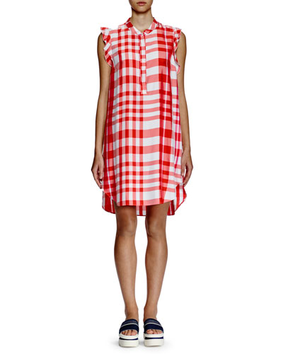 Ruffle-Shoulder Wide-Plaid Shift Dress, Red/White