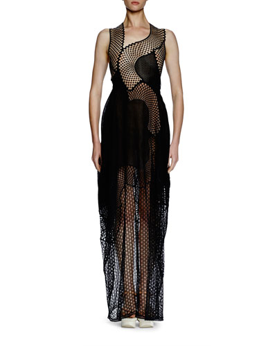Sleeveless Asymmetric Mesh Lace Gown, Black