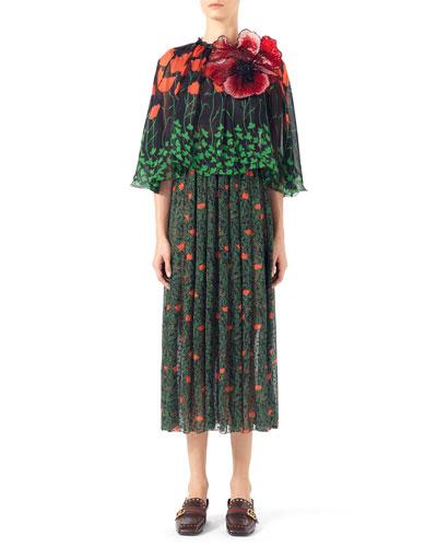 Printed Fil Coupe Cape Dress, Black Print