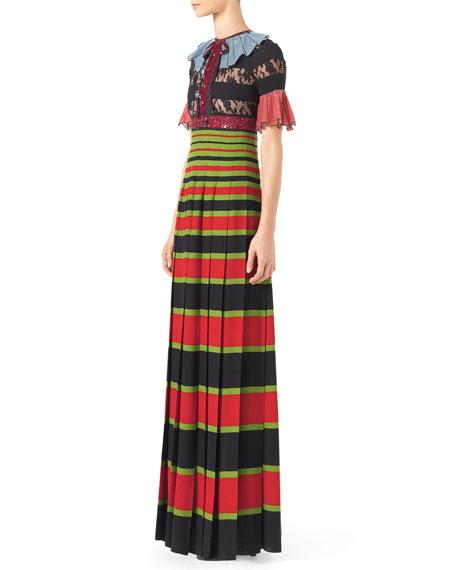 Trompe l'Oeil Sequin Gown, Black/Multi