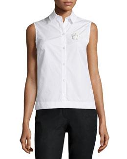 Sleeveless Cotton Blouse w/Applique Detail, White