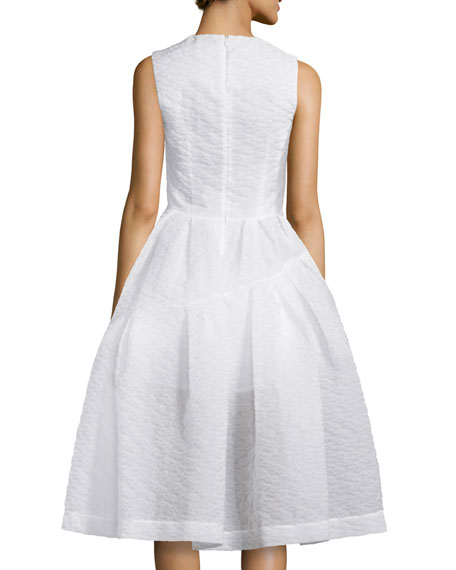 Sleeveless Jewel-Neck Cloque Dress, White