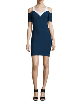 Bicolor Cady Cold-Shoulder Sheath Dress, Navy/White
