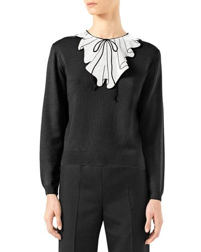 Trompe l'Oeil Sequin Knit Top, Black/Gardenia