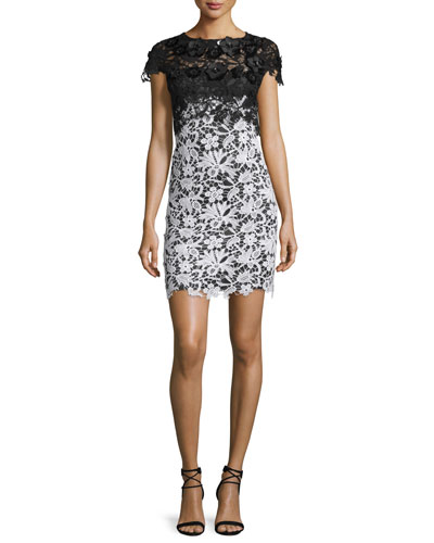 Kolsby Cap-Sleeve Lace Combo Dress, Black/White