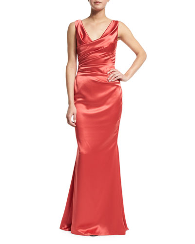 Holden Draped Satin Sleeveless Gown, Siena