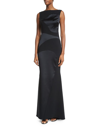 Hoshiko Double-Crepe Bateau-Neck Gown, Black
