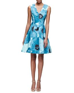 Sleeveless V-Neck Floral-Print Silk Dress, Blue/Multi