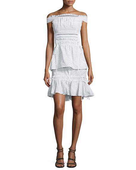 a8f3e249cab5 Peter Pilotto Off-the-Shoulder Smocked Pinstripe Dress