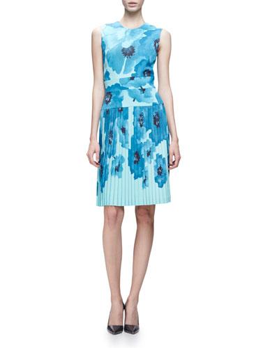 Sleeveless Pleated Floral-Print Crepe Dress, Blue/Multi