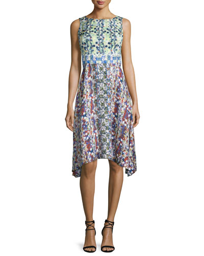 Sleeveless Scribble-Print Arched-Hem Dress, Lime