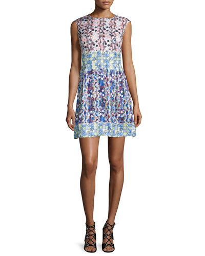 Sleeveless Scribble-Print Fit-and-Flare Dress, Pink