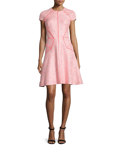 Cap-Sleeve Fit-&-Flare Dress, Pink/Multi