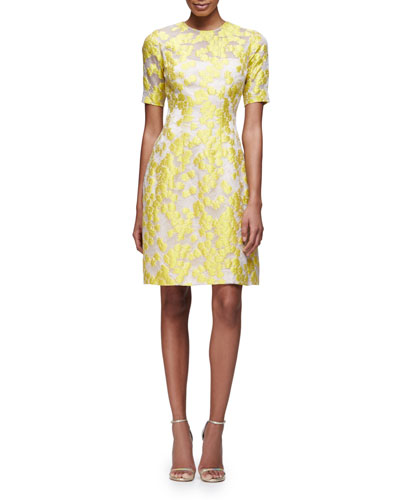Embroidered Half-Sleeve A-Line Dress, Citrine