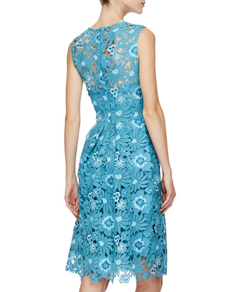 Floral-Lace Fit-&-Flare Dress, Blue/Multi