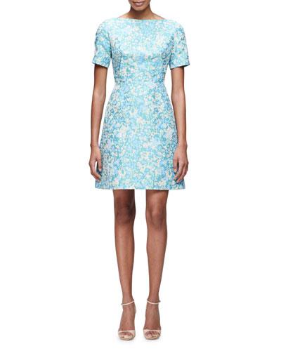Floral-Print Short-Sleeve A-Line Dress, Blue/Multi