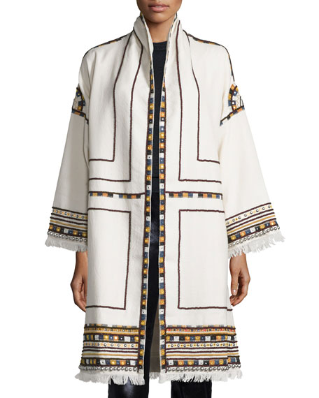 Embroidered Wool Open-Front Coat, Ecru