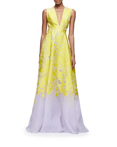 Sleeveless Deep V-Neck Open-Back Gown, Citrine