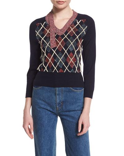 Embellished Patchwork Argyle Sweater, Navy