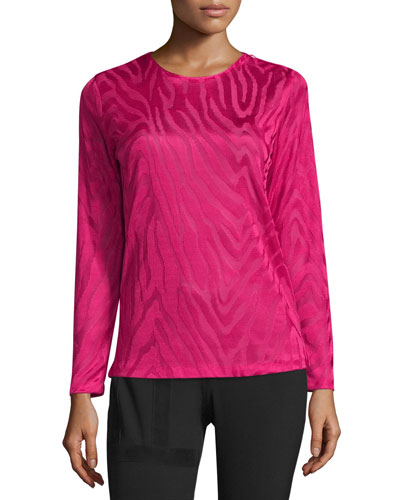 Long-Sleeve Animal Moiré Top, Fuchsia