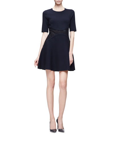 Half-Sleeve Mesh-Waist Fit-and-Flare Dress, Navy