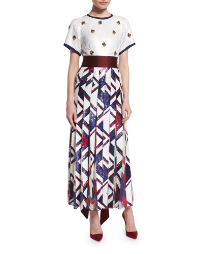 Short-Sleeve Pleated Sequined Combo Dress, White