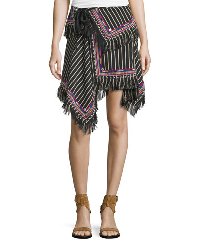 Fringed Asymmetric Stripe Skirt, Black