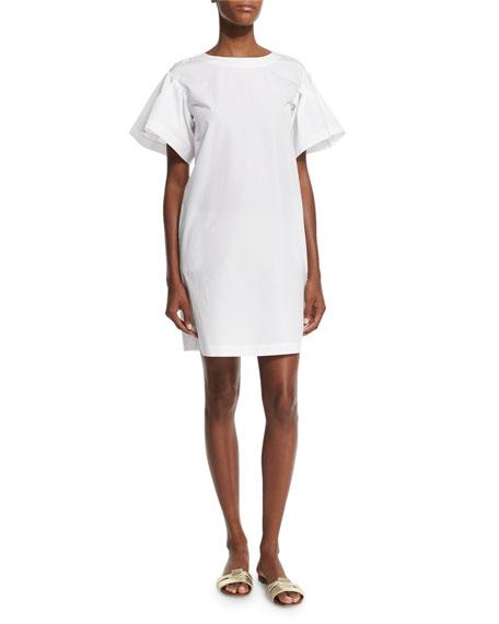 Ruffle-Sleeve Cotton Shift Dress, White