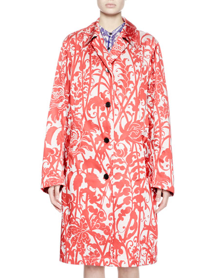 Wallpaper-Print Trench Coat, Red/Blush