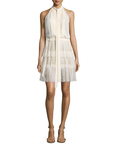 Sleeveless Tie-Neck Pleated Dress, Vanilla