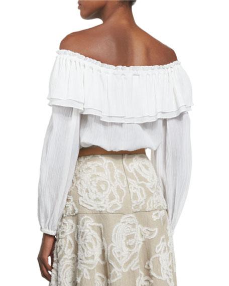 Michael Kors Off Shoulder Cotton Peasant Blouse Optic White