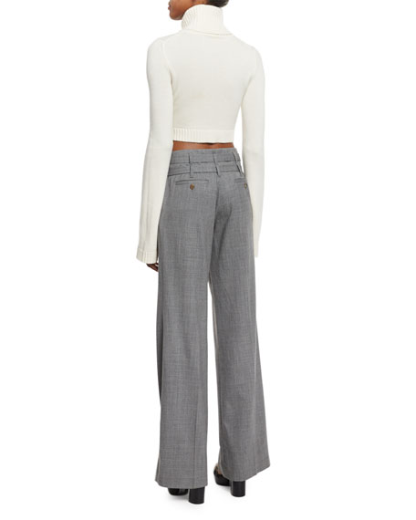 Michael Kors Cropped Cashmere Turtleneck Sweater, White a3a61b9fd176