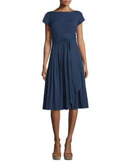 Cap-Sleeve Tie-Waist Dress, Indigo