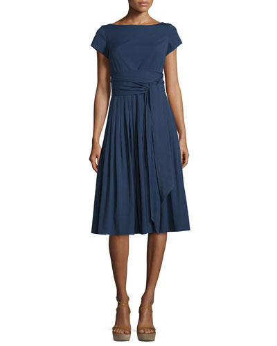 Cap-Sleeve Tie-Waist Dress, Indigo
