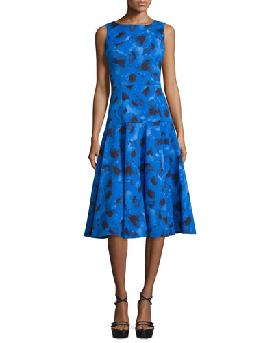 Sleeveless Poppy-Print A-Line Dress, Black/Blue