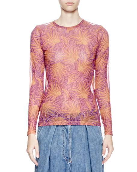 9b8dc3bf13 Dries Van Noten Hasty Long-Sleeve Fern-Print Tattoo Mesh Top