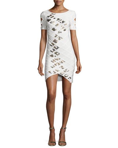 Short-Sleeve Embellished Bandage Dress, White