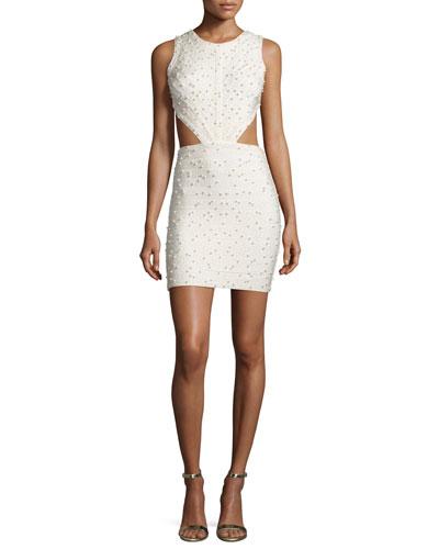 Sleeveless Pearly-Embellished Cutout Dress, Cream
