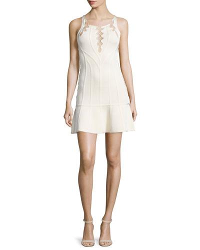 Sleeveless Lace-Up Knit Dress, Nude
