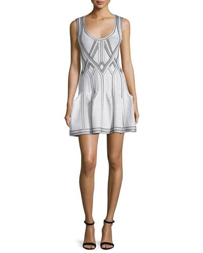 Godet-Pleated Tank Dress, Alabaster/Combo