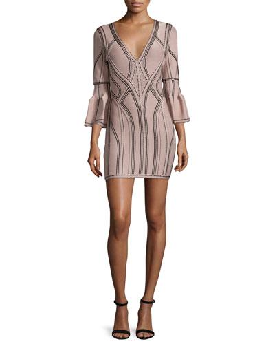3/4-Sleeve V-Neck Seamed Jacquard Dress, Nude
