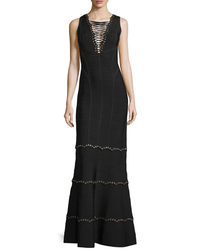 Sleeveless Lace-Up Embellished Gown, Black