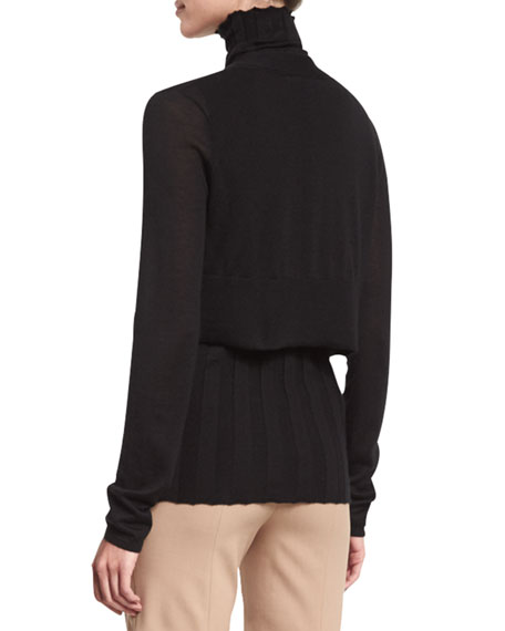 Long-Sleeve Cropped Cardigan, Black
