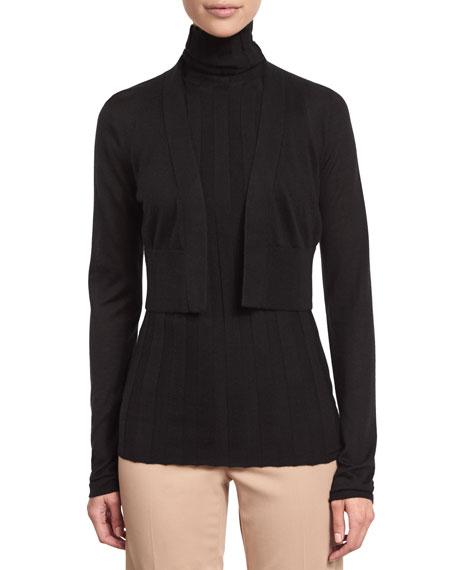 Long-Sleeve Cropped Cardigan, Black